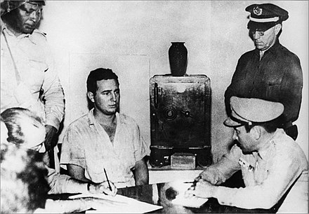 Fidel Castro under arrest after the Moncada attack, 1953 Fidel Castro under arrest after the Moncada attack.jpg