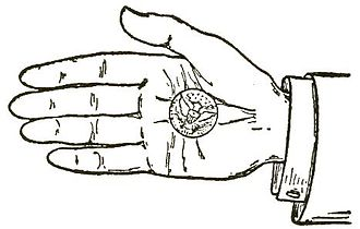 Palming - Palming a coin, from early-20th century writings on magic by Ellis Stanyon.