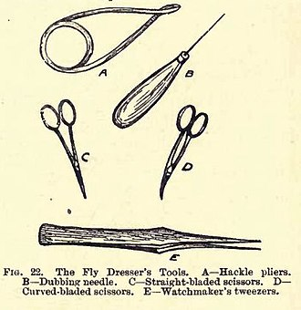 Fly tying - The fly dresser's tools from The Trout Fly Dresser's Cabinet of Devices or How To Tie Flies for Trout and Grayling Fishing (1919)