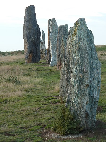 English:  South stone row of Moulin's (Mill's) alignments in the Landes de Cojoux (Cojoux's moorland) , Saint-Just, Brittany, France.