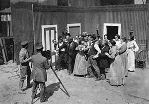 Francis Boggs - Francis Boggs, with his back to the camera, directs a scene for The Girls of the Range, 1910.
