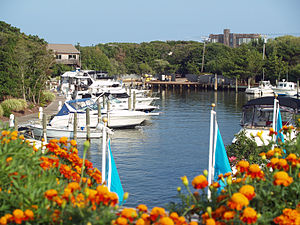 Fire Island Pines, New York - The marina from the west side shops area looking east