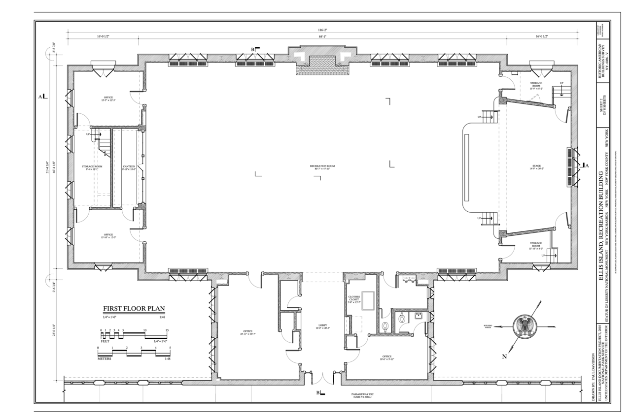 File:First Floor Plan Ellis Island, Recreation Building, New York Harbor, New York, New York - Bengal Greenfield Ambition New Town Rajarhat, Kolkata Apartment / FlatProject