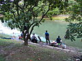 Fishermen Angling at Flood Dredging Pond Shore 20121215a.jpg