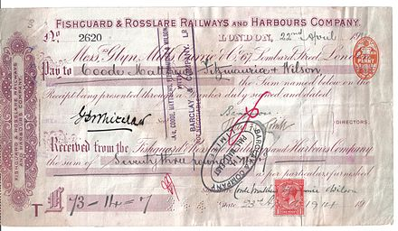 Certificate of the Fishguard and Rosslare Railways and Harbours Company Fishguard & Rosslare Railways and Harbours Company Cerificate.jpg