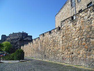Edinburgh town walls - One of the most intact sections of the Telfer Wall in the Vennel off Lauriston Place