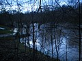 Flooded camping site on bank of river Lahn, space for floods after snowmelt in winter, photo from Trojedamm between Weidenhausen and the water 2018-01-02.jpg