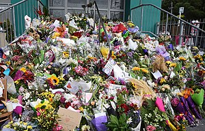 Flower tributes at Kilbirnie Mosque.jpg