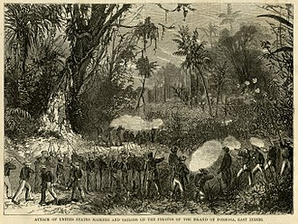 """Formosa Expedition - """"Attack of United States Marines and Sailors on the pirates of the island of Formosa, East Indies"""" by Harper's Weekly."""