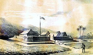 Expedition to the West Coast of Borneo - Nederlands fort te Sambas, gebouwd in 1823.