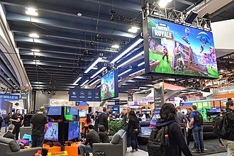 Moscone Center - The Fortnite Battle Royale booth at the 2018 Game Developers Conference.
