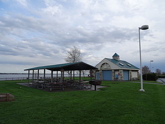 Fox Point State Park - Building and picnic tables at Fox Point State Park.