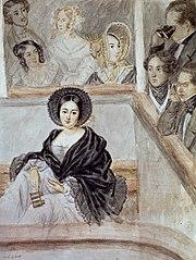 Portrait d'Alphonsine dite Marie Duplessis (la Dame aux Camélias), assise au balcon d'un théâtre