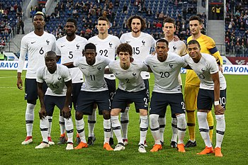 dbf95dc2dfe France lining up before a friendly against Russia in 2018.