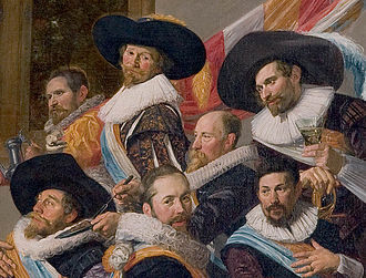 Cavalier hat - Detail of Banquet of the officers of the Calivermen Civic Guard, Haarlem, 1627, by Frans Hals, showing Dutch militia officers wearing cavalier hats.