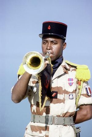 Bugle call - A French Marine plays the bugle during the Gulf War, in March 1991.