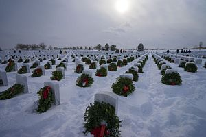 Fort Logan National Cemetery - Wreaths placed at headstones.