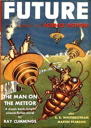 "Donald A. Wollheim - Wollheim's ""Pogo Planet"", the first installment of his ""Alex Calkins"" series, was the cover story for the October 1941 issue of Future. It appeared under Wollheim's ""Martin Pearson"" pseudonym and was illustrated by Hannes Bok."