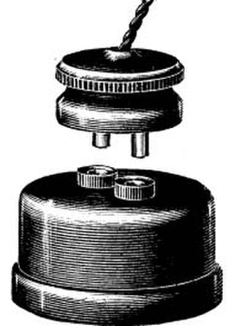 AC power plugs and sockets: British and related types - Early GEC 2 pin plug and socket as depicted in the 1893 GEC Catalogue