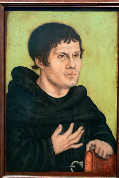 Martin Luther (1483-1546), in the habit of the Augustinian Order. Luther was an Augustinian friar from 1505 until his excommunication in 1520. Luther would later renounce his religious vows and marry Katharina von Bora in 1525. GNM - Luther als Monch.jpg