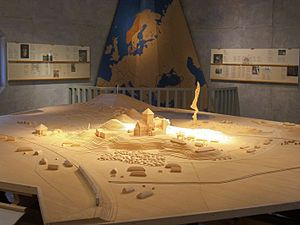 Gamla Uppsala - A composite model of Gamla Uppsala from throughout history, as exhibited at the local museum.