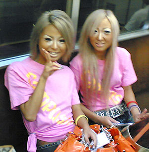 Ganguro - Two Japanese ganguro girls in the subway, August 2006