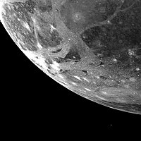 Icy surface of Ganymede as photographed from 253,000 km