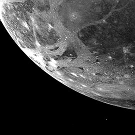 Icy surface of Ganymede as photographed from 253,000 km.