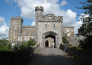 Powderham Castle - Powderham Castle: 19th-century gatehouse viewed from west (1845–47)