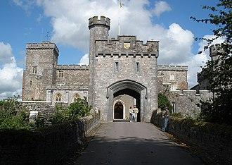Powderham Castle - Powderham Castle: 19th-century gatehouse viewed from west (1845–47)