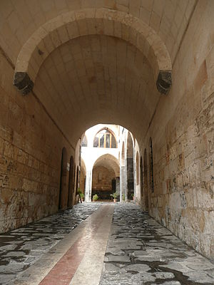 Gaziantep - View of a courtyard through an arched alley in Antep's historic city center.