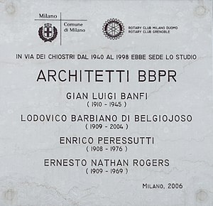 BBPR - Memorial plaque, Milan