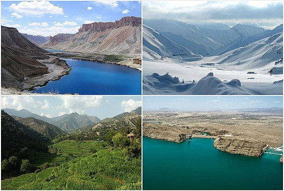 Landscapes of Afghanistan, from left to right: 1. Band-e Amir National Park; 2. Salang Pass in Parwan Province; 3. Korangal Valley in Kunar Province; and 4. Kajaki Dam in Helmand Province Geography of Afghanistan.jpg