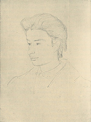Georg Brandes - Georg Brandes in his youth. 1868 drawing by Godtfred Rump.