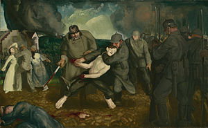 Belgium in World War I - The Germans Arrive by the American artist George Bellows depicting the 1914 German atrocities in Belgium.