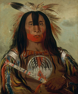 Plains Indians - A Plains Indian in all his finery, about 1835.