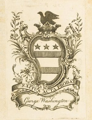 Coat of arms of the Washington family - George Washington bookplate