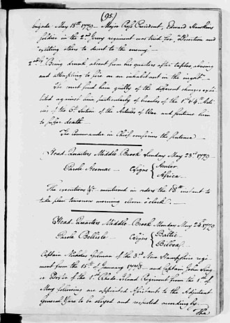 Nicholas Gilman - General orders of George Washington: the bottom section (24 May 1779) names Captain Nicholas Gilman, of the Third New Hampshire Regiment as assistant to the adjutant general