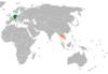 Lage von Deutschland und Thailand