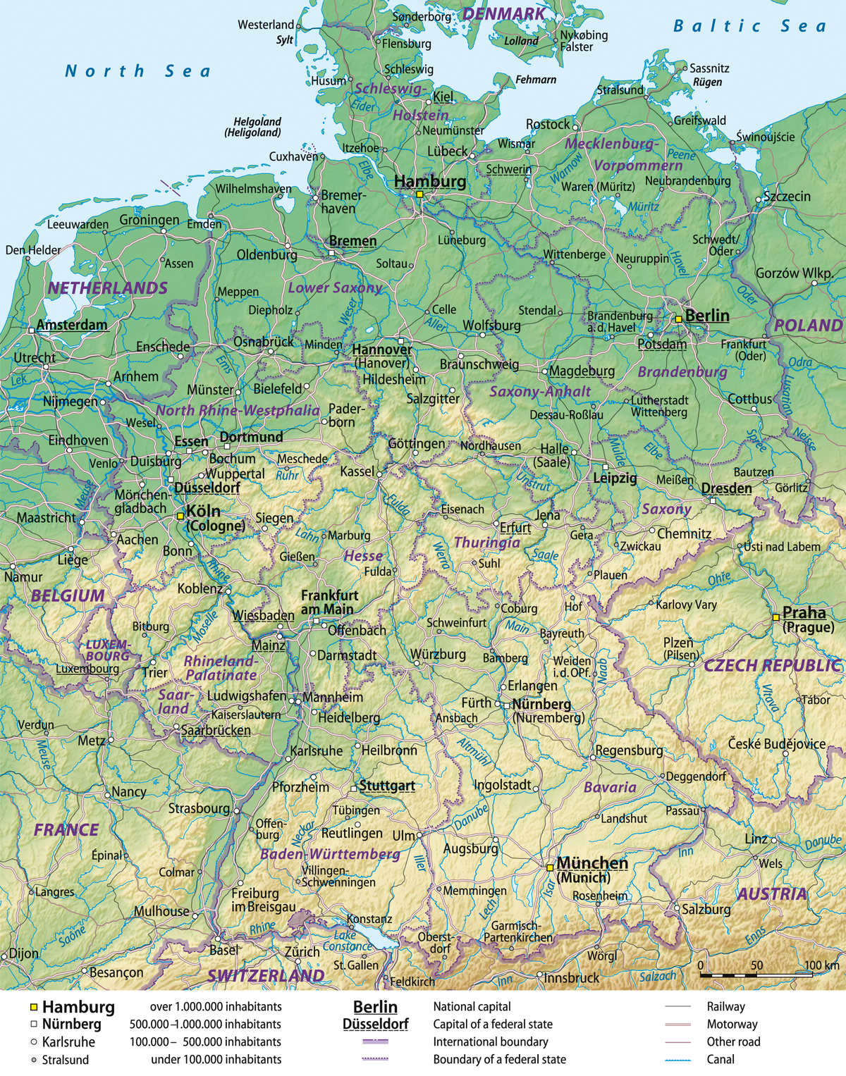 Map Of Germany Showing Cities.List Of Twin Towns And Sister Cities In Germany Wikipedia