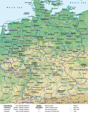 Outline of Germany - An enlargeable map of the Federal Republic of Germany