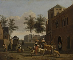 View of a Town with Figures, Goats, and Wagon before a Church