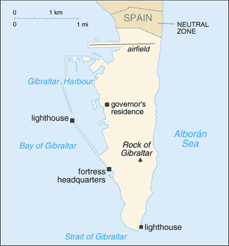 Demilitarized zone - Historical map of the promontory of Gibraltar.