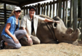 Gillie and Marc in Kenya with Sudan, the last male Northern White Rhino, 2017.png