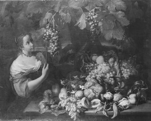 Girl with Grapes and Still Life with Fruit