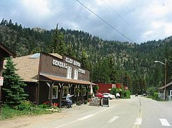 General store on the main street of Glen Haven, Colorado.