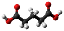 Ball-and-stick model of the glutaric acid molecule