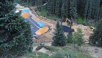 Tailings - Emergency tailing ponds constructed in response to the 2015 Gold King Mine Spill in Colorado, pictured on August 7, 2015. The ponds were constructed to contain a spill created by EPA workers, while trying to install a cleanup system on the main tailing pond for the long closed mine.