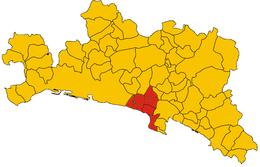 Mappa dei comuni del golfo Paradiso all'interno della provincia di Genova