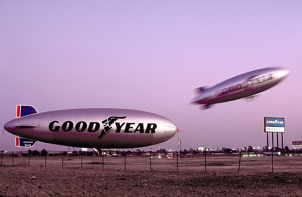 Goodyear Blimps N4A and N3A at the Carson, California, Blimp Base